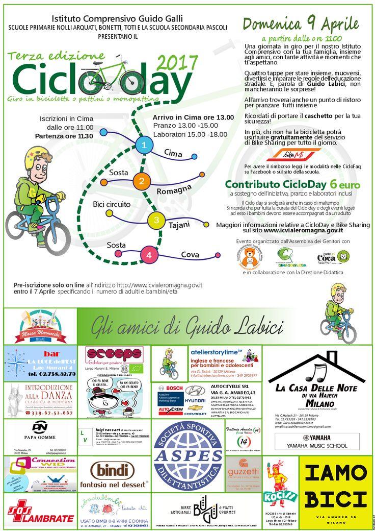 """Locandina 3a edizione Cicloday. Grafica by Mariarosa Croce. Ricerca """"amici di Guido"""" Claudia Conci"""