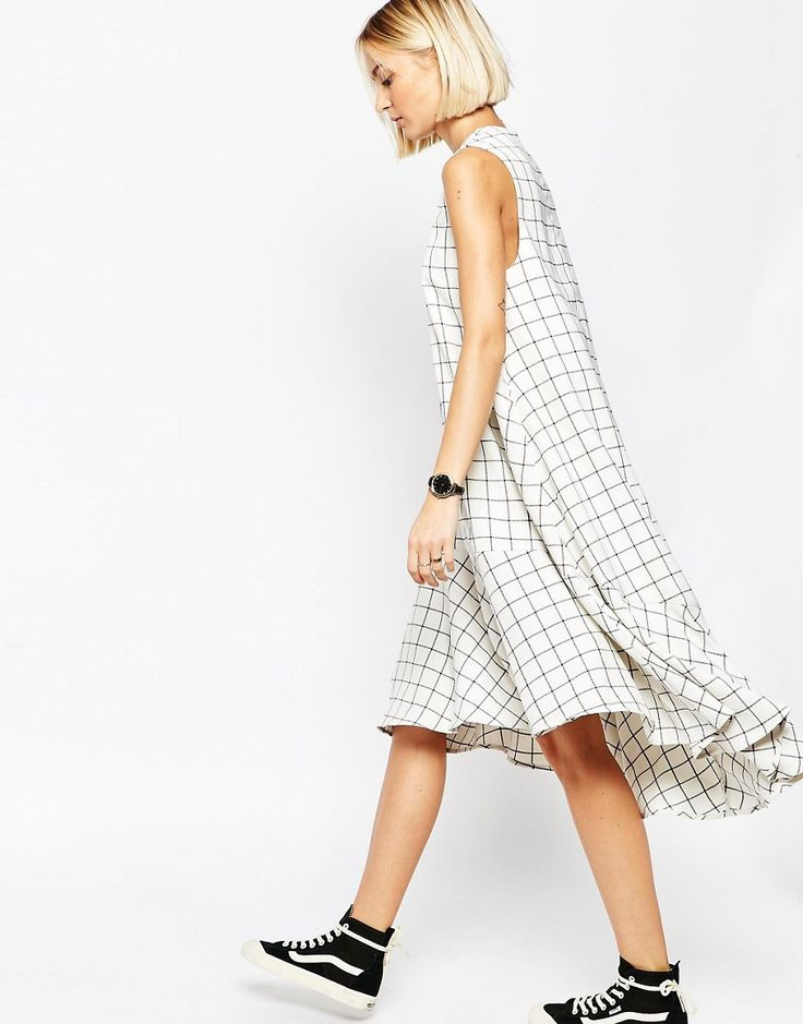 Image 1 of ASOS WHITE Trapeze Dress in Grid Print