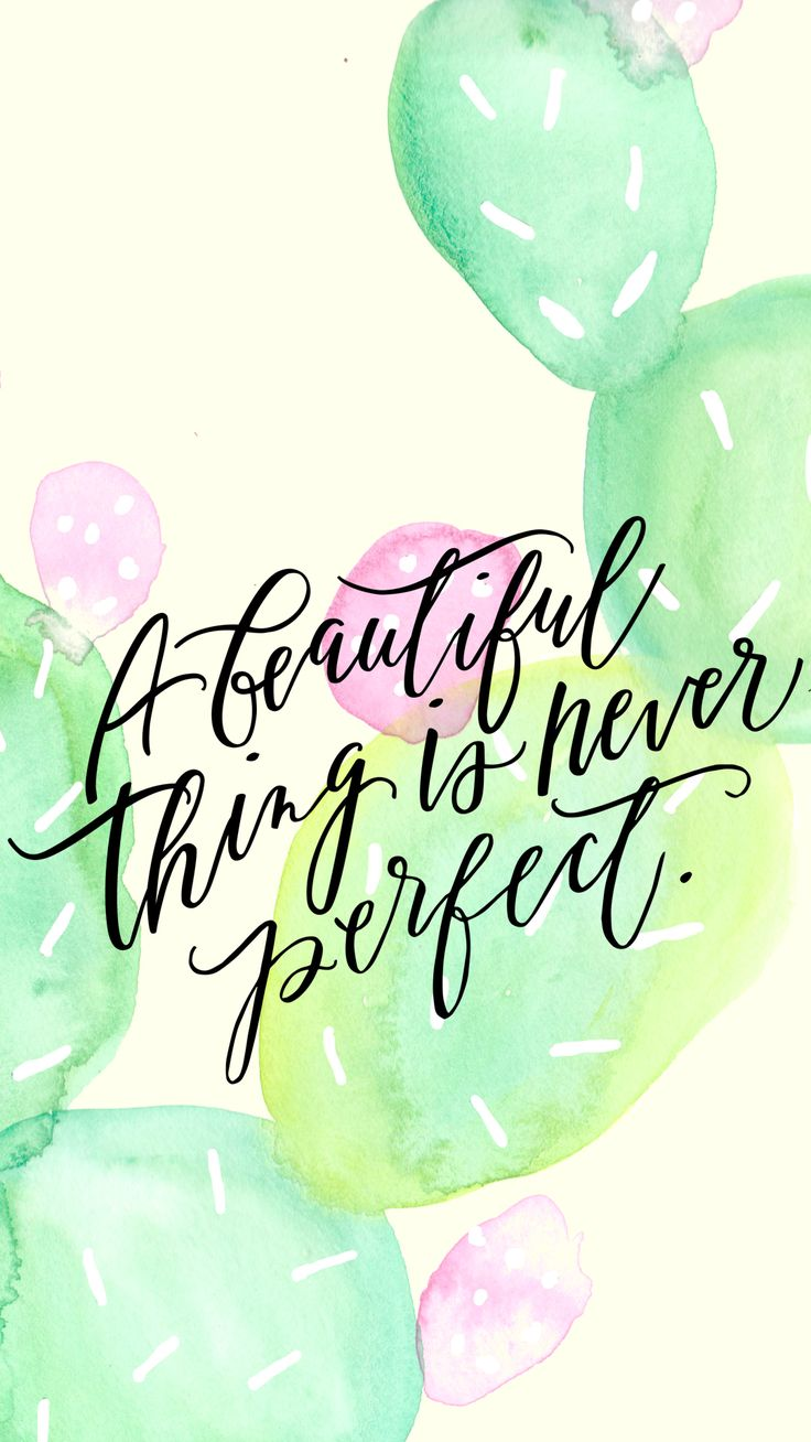 A beautiful thing is never perfect.: