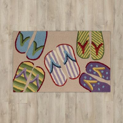 Beachcrest Home Barton Point Beige Flip Flop Area Rug
