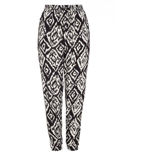 Mela Loves London Aztec Print Trousers ($25) ❤ liked on Polyvore featuring pants, black, women, black print pants, print pants, patterned pants, aztec pattern pants and rayon pants