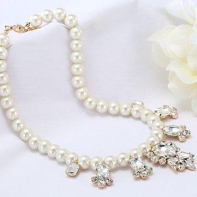 koreansk mode perle krystal halskæde – DKK kr. 45