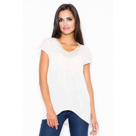 Dámska dlhšia blúzka bielej farby - fashionday.eu