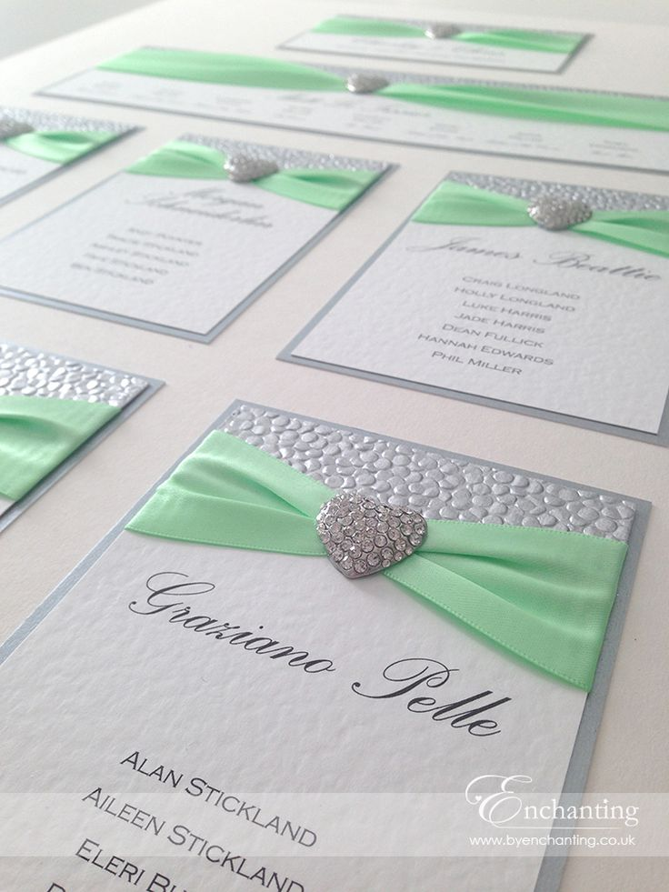 "Mint and Silver Wedding Stationery | The Ariel Collection - Table Plan / Seating Chart | Featuring silver pebble paper, mint green ribbon and ""Seattle"" heart embellishment 
