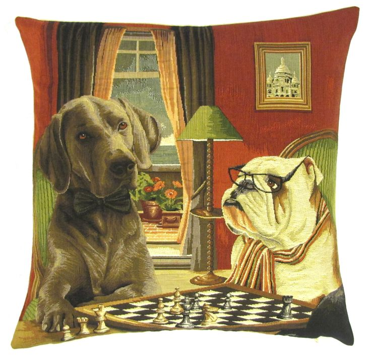 belgian tapestry gobelin throw pillow cushion cover english bulldog and rhodesian ridgeback playing chess for him
