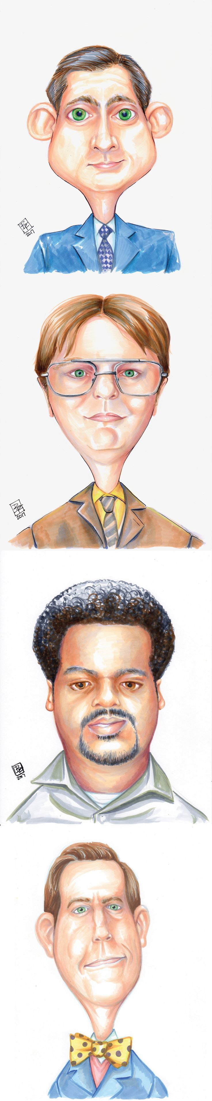 Hand drawn portraits of favorite characters from The Office tv show - Michael Scott, Dwight Schrute, Darryl Philbin, and Andy Bernard