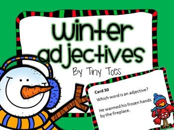 WINTER Theme Adjective Game task cards meets common core,