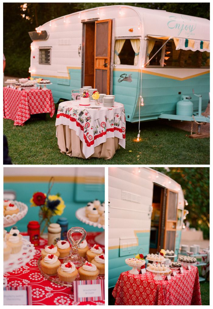 This is just gorgeous! Plus after the party, I want to keep that beautiful caravan!