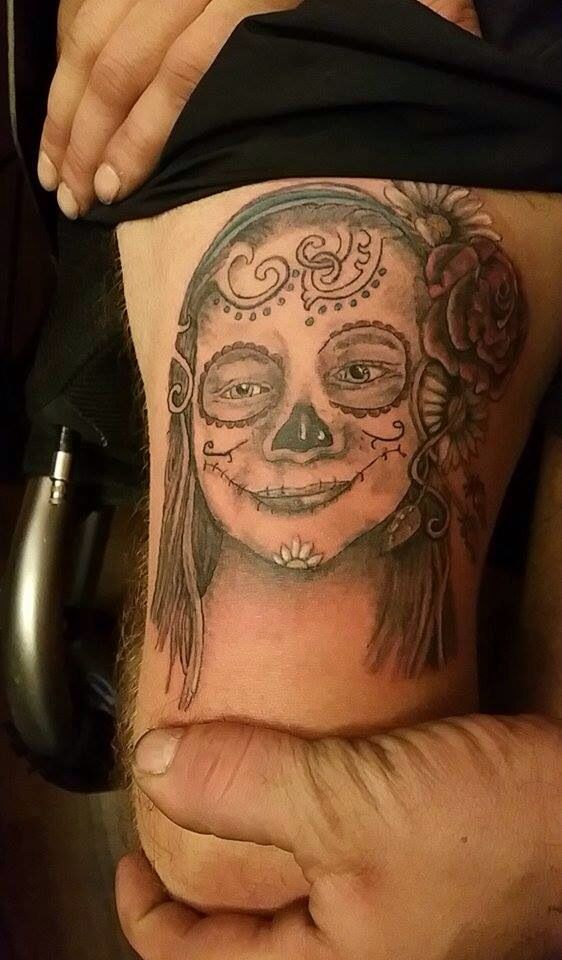 My new sugar skull themed tattoo of my daughter zoey