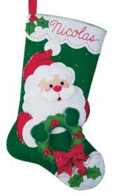 Santa's Wreath Stocking kit by Bucilla