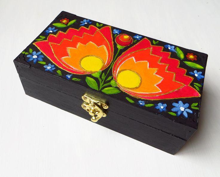 Trinket Box, Jewelry Wooden Box, Hand Painted, Unique Gift, Floral Wooden Box, Folk Pattern, Polish Folk, Etno,  Floral Folk Art, MikiMayo by MikiMayoShop on Etsy
