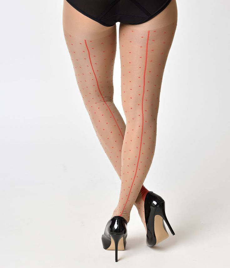 What Katie Did Vintage Style Champagne & Red Polka Dot Seamed Stocking – Unique Vintage