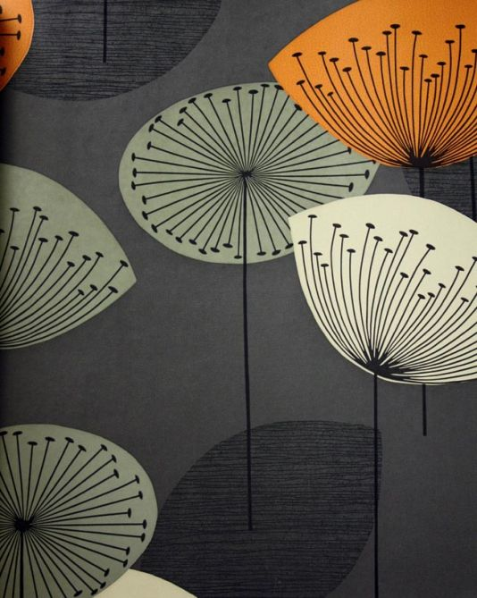 Dandelion Clocks Wallpaper Charcoal wallpaper with dandelion clocks in orange, beige and grey