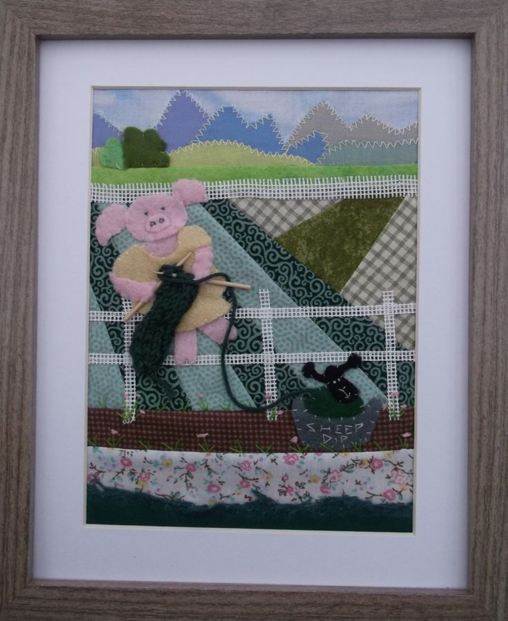 Collage Knitting Piggy FUN framed fabric art. Patchwork and applique picture Quirky Original creative unique patterns designs and ideas