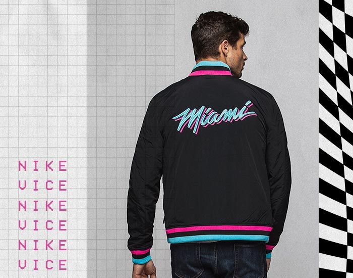 Vice Nights Collection Nike Miami Heat Vice Black City Edition Courtside Jacket Miami Heat Long Sleeve Tshirt Men Miami