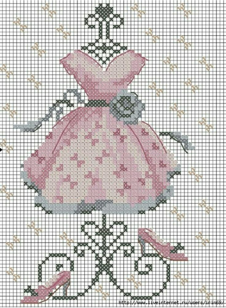 #crossstitch #kanaviçe #pembe #elbise #ayakkabı #pink #dress #shoes