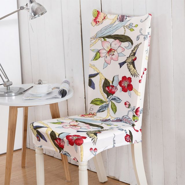 Floral Printing Birds&flowers Elastic Multifunctional Spandex Elastic Dining Room Chair Cover for Modern Kitchen Table Chair