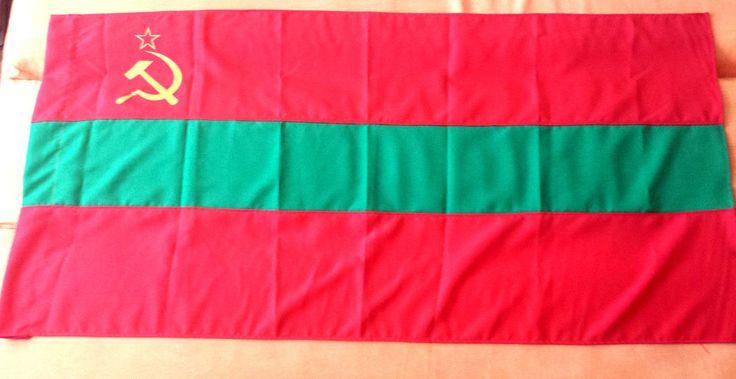 Flag Banner Transnistria Moldova Arms USSR PMR Sickle Star Symbols State