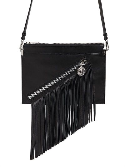 versus fringed leather shoulder bag luisaviaroma