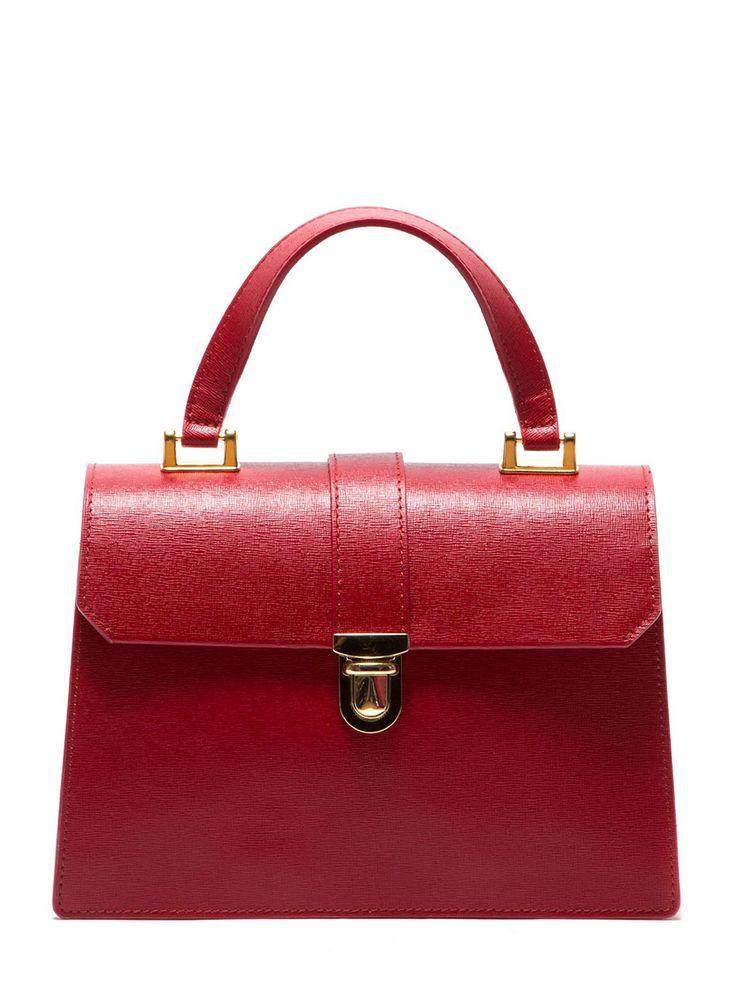 Dámská kabelka z pravé kůže pro každodenní nošení Roberta M - červená