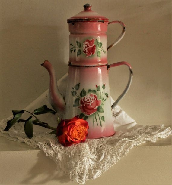 Vintage Gorgeous Romantic Pink French Enamel by uniqueenamel