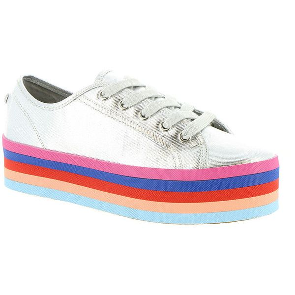 Steve Madden Rainbow Women's Silver Oxford ($70) ❤ liked on Polyvore featuring shoes, oxfords, silver, metallic oxfords, silver platform shoes, platform oxford shoes, steve madden shoes and silver oxfords