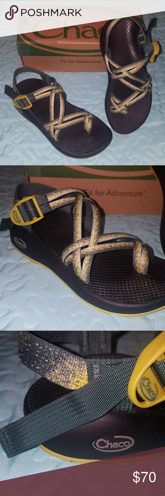 Women's Chacos ZX2 Worn once! Like brand new!! The colors are stardust... Yellow & a dark army greenish color. Soles are yellow and black. Will ship in original box. Chacos Shoes Sandals