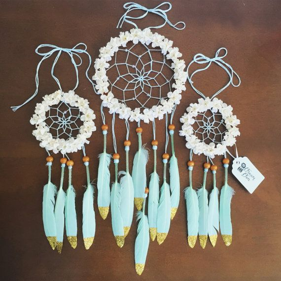 3 Floral Mint and Cream Glitter Dream Catcher by DreamDen on Etsy