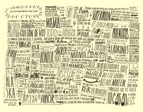 Experimentos tipográficos basados en letras de canciones de Antolín.
