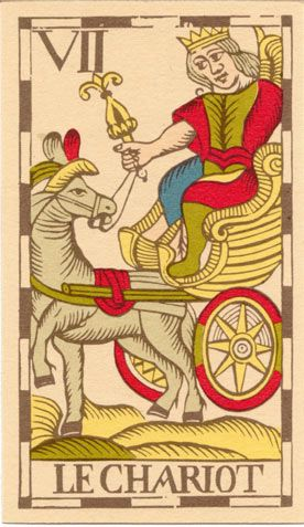 Chariot from the Vandenborre Bacchus Tarot, a Belgian Tarot
