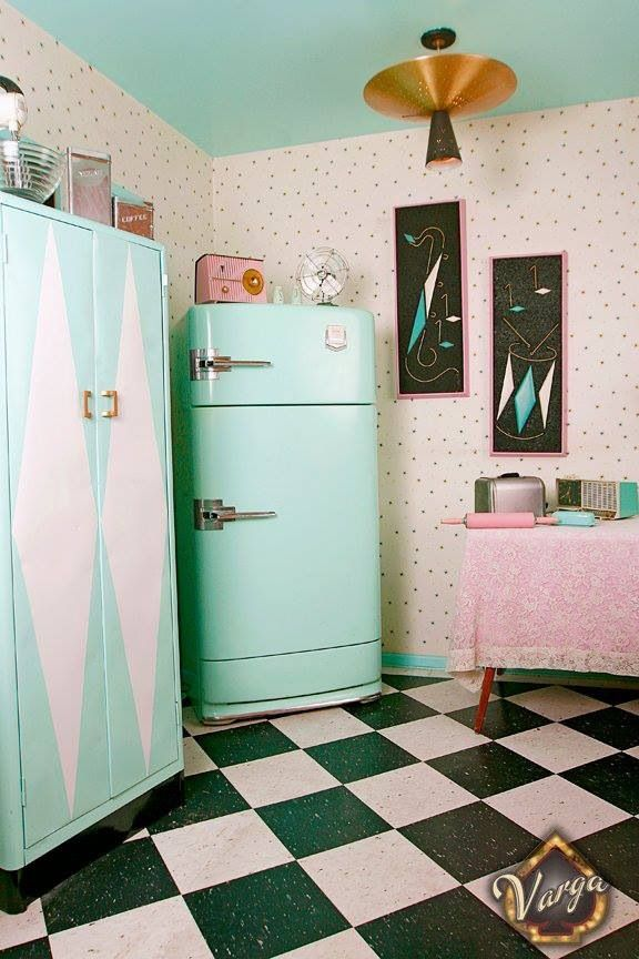 Pretty turquoise and pink mid century kitchen.