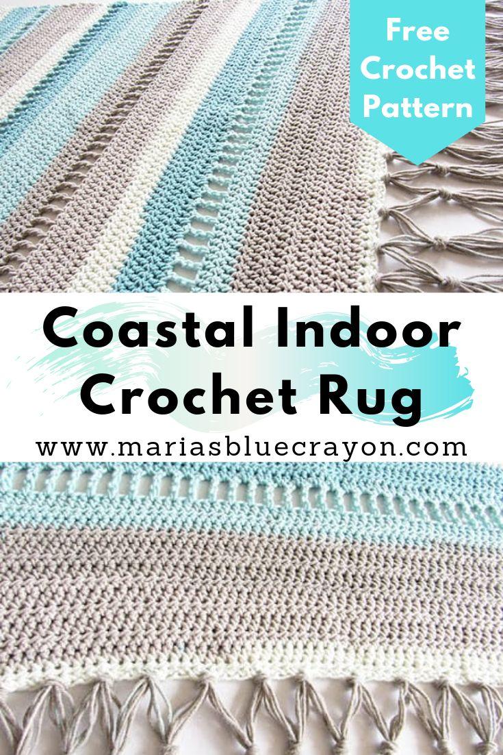 Coastal indoor rug free crochet pattern made with caron