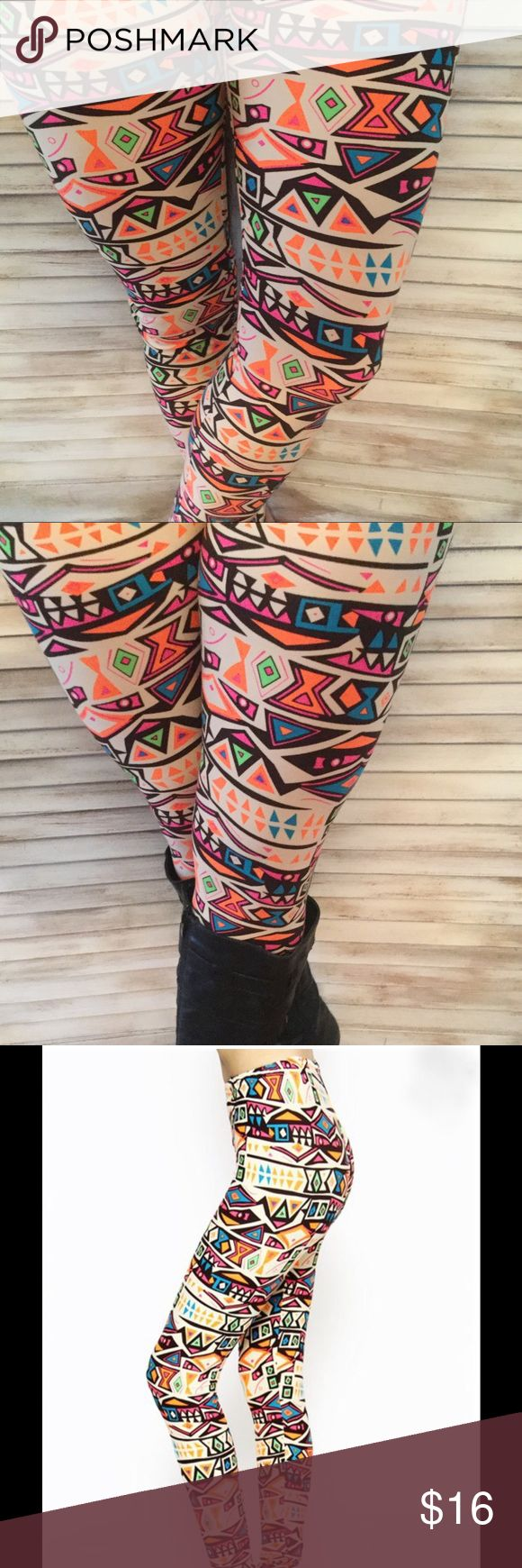 Aztec Tribal Print Leggings Super cute and cozy lounge pants.  Light weight with no pockets.  These comfy cozy pants are perfect for the gym, yoga, or lounging around. Aztec Navajo Print. Black, Neon Orange and Cream - 92% Polyester/8% Spandex. Inseam - 27, Waist - 11.5, Length - 37, Rise - 10.5 Pants Leggings