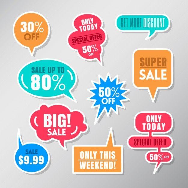 Jogo de etiquetas coloridas venda discurso balão bolhas elementos de design Vetor grátis