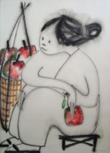 Seated Oriental Figure with basket of apples