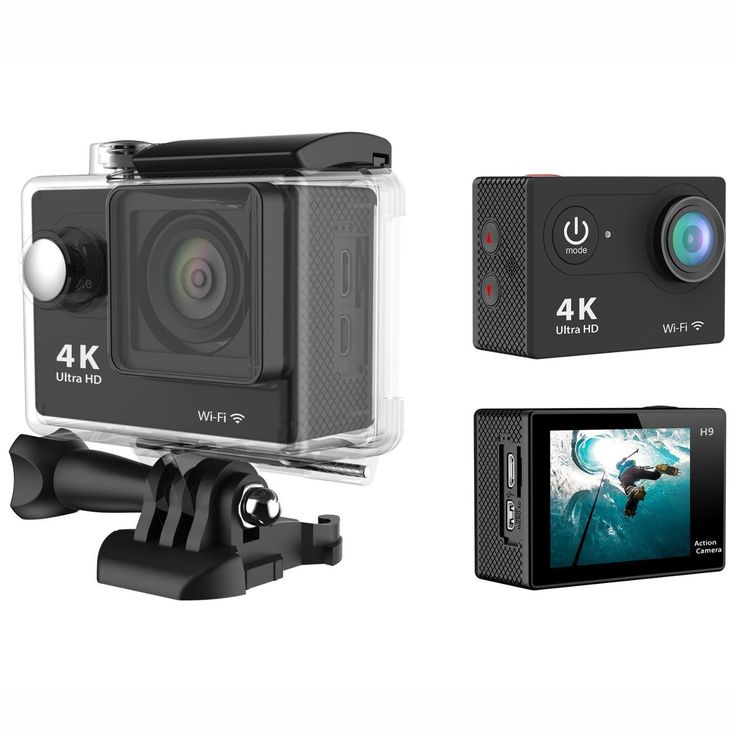 RioRand H9 2.0 Inch 170 Degree 6g Ultra-wide Angle Lens 4k Ultra-hd 30-meter Waterproof Wi-fi Sports Diving Camera, with Gopro-style Waterproof Housing & Gopro-style User Interface (Black). With different Accessories, it is a perfect mate to enjoy your wonderful time for vehicle data recording, photo-shooting, outdoor sports, home security, deep-water probing, etc. 2-Inch TFT LCD,12.0 Megapixels,6G HD 170° Ultra-wide Fish-eye Lens,4K Ultra-hd definition. Wi-fi remote control;Gopro-style...