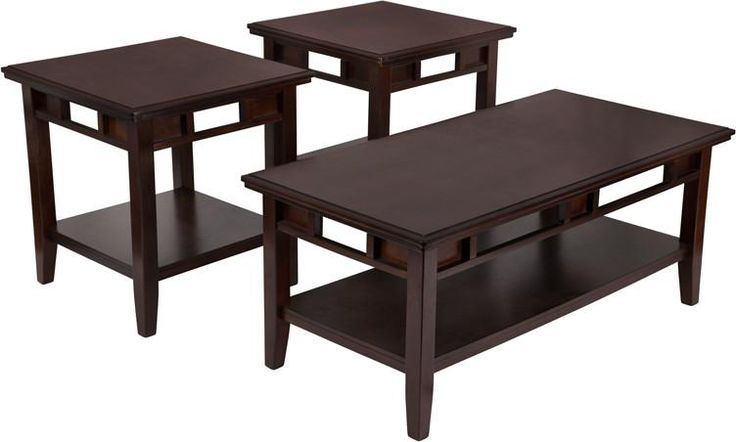Signature Design by Ashley Logan 3 Piece Occasional Table Set. With a rich dark finish and a refined contemporary design, the exciting look of the metro modern style created by the ''Logan'' accent table collection is sure to enhance the sophistication of any living area. The rich beauty of the dark brown finish flows smoothly over the streamlined pierced apron design to create a sophisticated design perfect for any home environment. Enhance the style of any living area with the sleek metro…