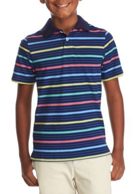 J. Khaki Boys' Stripe Polo Shirt Boys 8-20 - Blue Multi - Xl