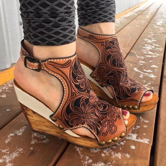 Custom Handmade Leather Wedge Sandal/Shoe by Bar9LDesigns on Etsy