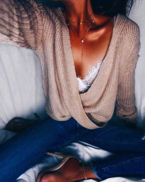 lace skivvies + front wrap sweater + denim