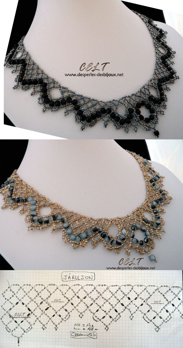 Free Necklace Pattern.  Website offers additional beaded patterns.  Maybe for my wedding piece?