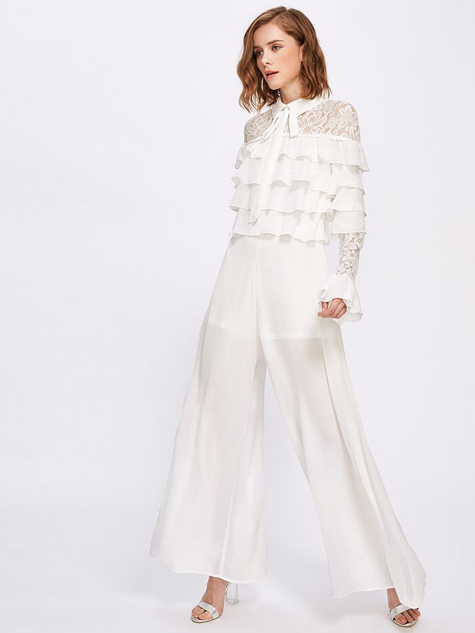 Shein Lace Shoulder And Sleeve Layered Frill Detail Palazzo Jumpsuit