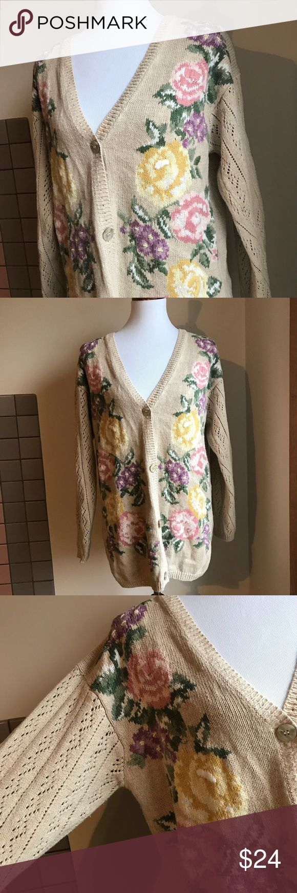 Vintage Rose Cardigan Vintage Rose Cardigan    Too stinking cute! This beige cardigan features pastel colored embroidered roses, and the tag says they were embroidered by hand! Feels like cotton, not scratchy at all. The sleeves are also detailed in the way they're woven. No size is pictured on tags, but looks to fit a small/medium oversized or a large comfortably. Ask for measurements. Great condition Sweaters Cardigans