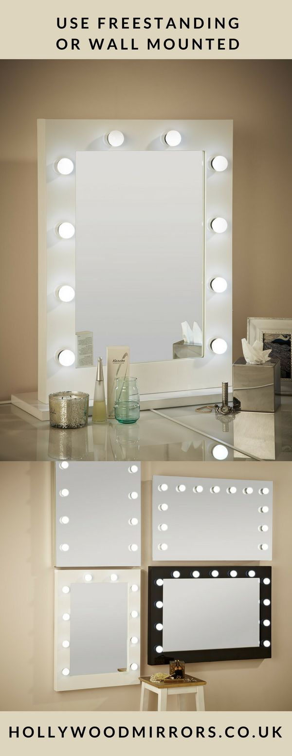 Dressing table with mirror and lights - Hollywood Mirror In White Gloss 80 X 60cm