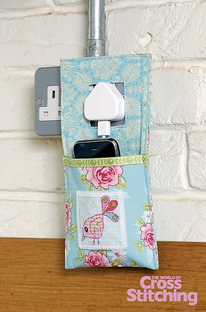 Try a gadget-charger pocket, with cross stitch designs! In the new-look, bumper celebratory issue 200 of The World of Cross Stitching magazine.
