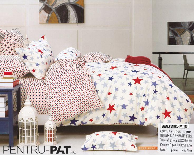Lenjerie de pat bumbac Casa New Fashion crem cu stelute