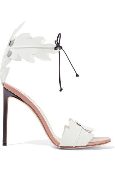 Francesco Russo White leather Sandals :designed to look like tropical Leaves