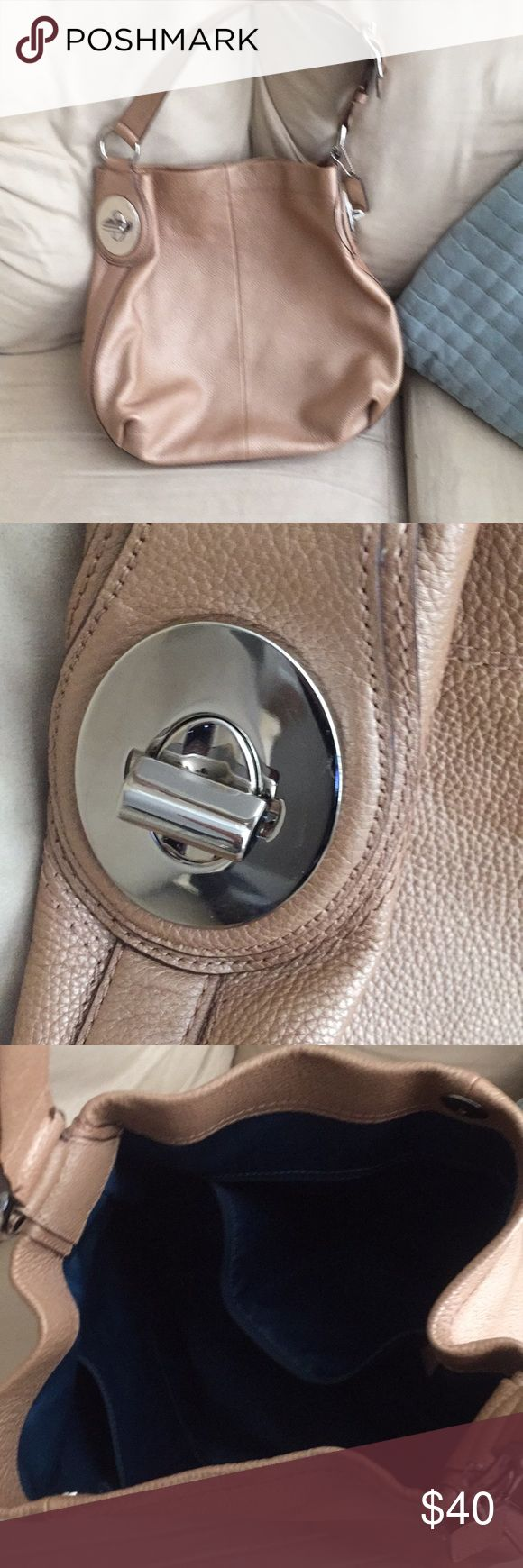 Goldfish Taupe Coach Purse Cute Coach purse with silver hardware. Super cute hobo bag. Med/large size. Coach Bags Hobos