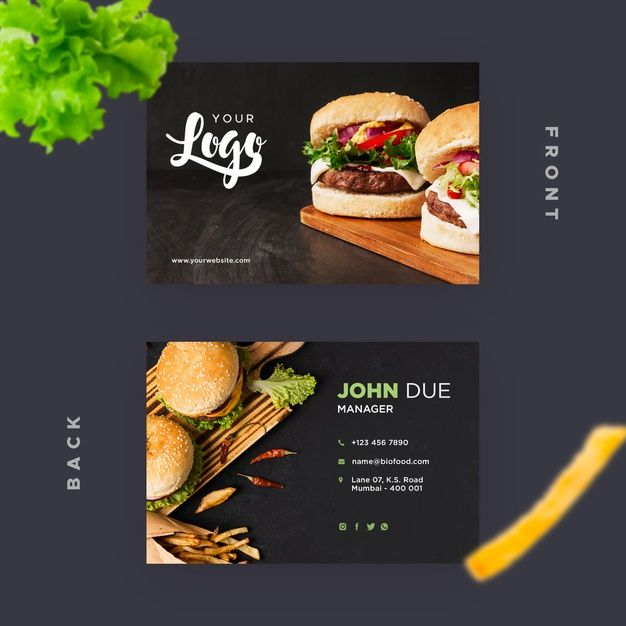 Download Business Card Template For Restaurant With Burgers For Free Food Business Card Food Business Card Design Business Card Psd