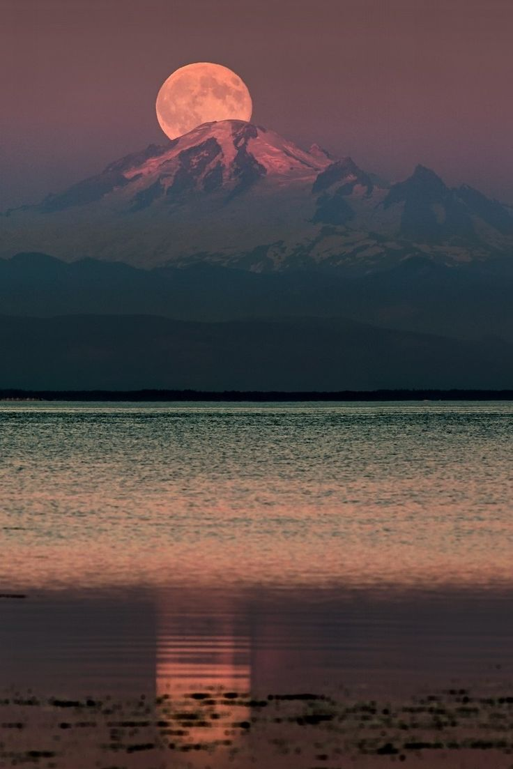 The Moon over Mount Baker, Washington, by Alexis Birkill, on 500px.